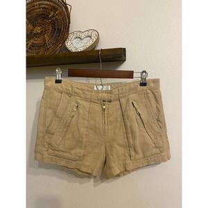 A.L.C. tan linen & gold shorts | 4